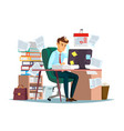 man overwork in office of vector image