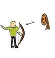 man shoots a bow vector image