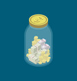 money money safety concept with glass jar vector image vector image