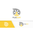 movie and wifi logo combination cinema and vector image vector image
