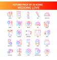 orange futuro 25 wedding love icon set vector image