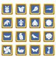 origami icons set blue square vector image vector image