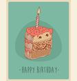 piece cake happy birthday sweet cupcakes vector image