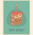 piece of cake Happy Birthday sweet cupcakes vector image
