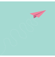 Pink origami paper plane curly dash line track sky vector image vector image
