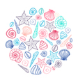 Poster with seashells and starfishes Marine vector image vector image