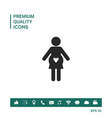 pregnant woman icon with heart vector image vector image