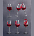 realistic wine glass set vector image vector image