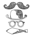 Retro party objects with moustaches isolated on vector image vector image