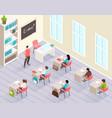 school classroom isometric background vector image vector image