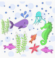 sea life cute marine animals vector image