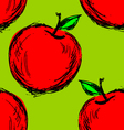 Seamless background with hand drawn apple vector image vector image