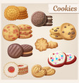 set 9 delicious cookies food sweet icons vector image