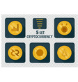 set of different cryptocurrency flat style vector image vector image