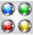 set of glossy colorful round buttons with metallic vector image vector image
