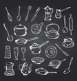 set of hand drawn kitchen utensils on black vector image vector image