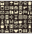 Set of pixel objects Seamless background vector image