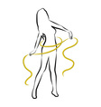 Silhouette woman with yellow metre vector image