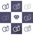 simple decorative wedding rings icons vector image