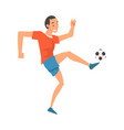 soccer player in sports uniform kicking ball vector image vector image