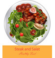 steak and spinach salad realistic healthy vector image vector image