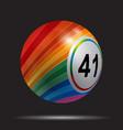 striped 3d bingo lotto ball on black vector image vector image