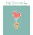 Stylized cute heart in pot Cartoon style vector image
