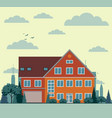 suburban house cottage with garden on background vector image vector image