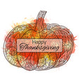 thanksgiving day postcard with a pumpkin with a vector image vector image
