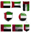united arab emirates flag on button vector image vector image