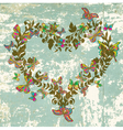 vintage floral heart with butterflies vector image