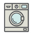 washing machine colorful line icon household vector image