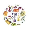 Watercolor wine set Round card background vector image vector image
