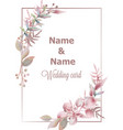 Wedding card save date pink leaves branch
