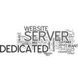 what to look for in a dedicated server text word vector image vector image