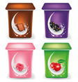 yogurt cream packaging design template with chocol vector image