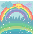 Colorful background with a rainbow rain sun vector image