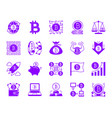bitcoin color silhouette icons set vector image vector image