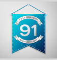 blue pennant with inscription ninety one years vector image vector image