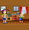 cartoon mother and son in the kitchen vector image vector image