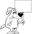 cartoon sick dog with a thermometer in his mouth w vector image vector image