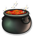 cauldron with red potion cartoon sticker vector image