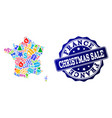 christmas sale collage of mosaic map of france and vector image vector image