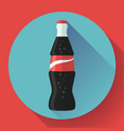 cola bottle soda bottle with red lable flat vector image vector image