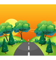 Countryside scene with road at sunset vector image vector image