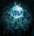 disco ball with silhouettes people dance party vector image