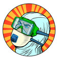 doctor man in protective suit epidemic vector image vector image