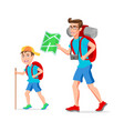father and son tourist hipster funny cartoon vector image vector image
