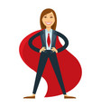 female superhero in office suit with red tie and vector image