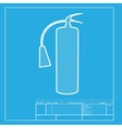 Fire extinguisher sign White section of icon on vector image vector image